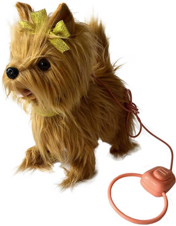 Pejsek Koko 25cm chodící na baterie s ovládáním na kabel štěká Zvuk