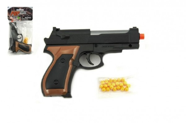 Pistole se zásobníkem na kuličky 15cm + kuličky plast v sáčku