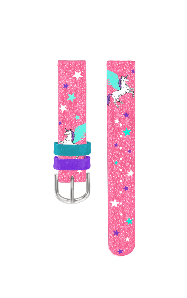 Růžový řemínek s jednorožcem k dětským hodinkám CLOCKODILE