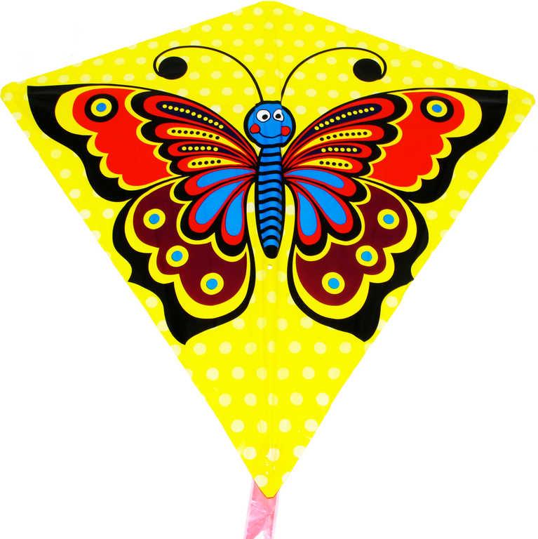 Drak žlutý létající motýl 68x73cm plastový
