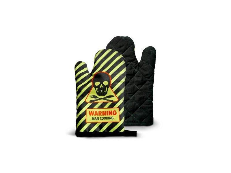 Kuchyňská rukavice - WARNING! Man cooking