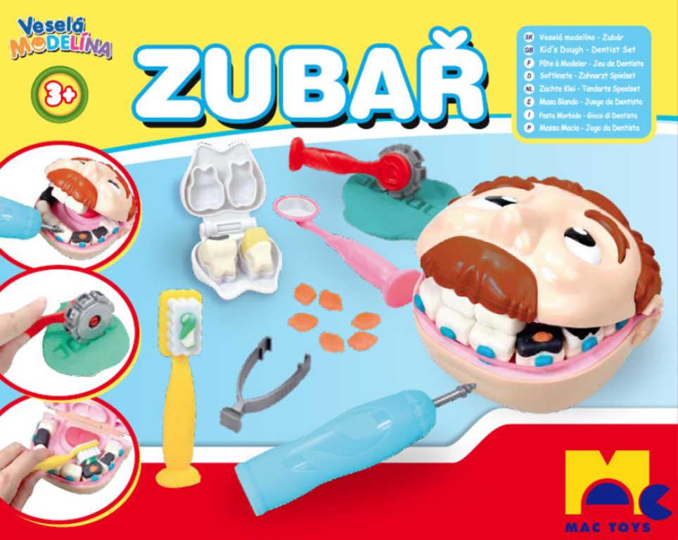 MAC TOYS Modelína malý zubař set hlava s vrtačkou na baterie s nástroji plast