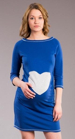 Těhotenské šaty, tunika SRDCE - tm. modré - XS/L