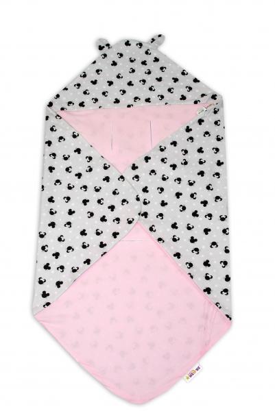 Bavlněná zavinovací deka s kapucí Baby Nellys - Minnie šedé/růžové