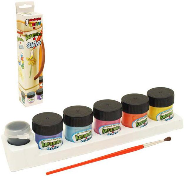 Barvy akrylové na keramiku a sklo set 5 odstínů 12ml s konturou a štětcem