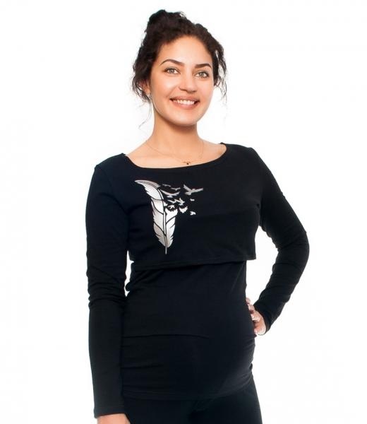 Be MaaMaa Těhotenské/kojící triko - pírka , dlouhý rukáv