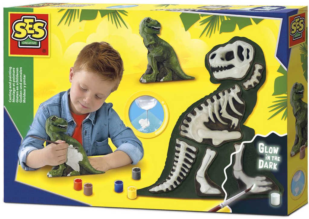 SES CREATIVE Sádrový komplet 3D dino odlitek kostra T-rexe svítí ve tmě