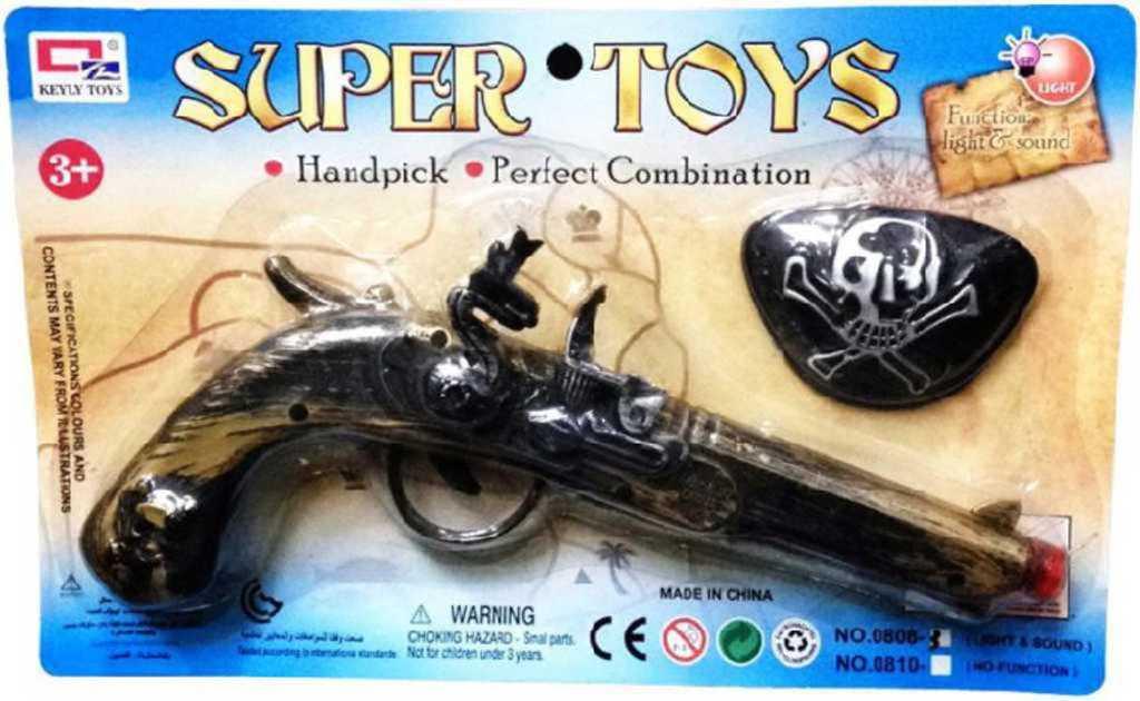Bambitka puška pirátská dětská zbraň na baterie na kartě Světlo Zvuk