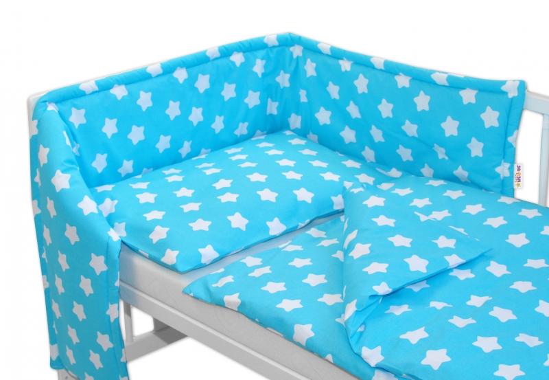 Baby Nellys Mantinel s povlečením 135x100 - Sweet Stars - tyrkysová - 135x100