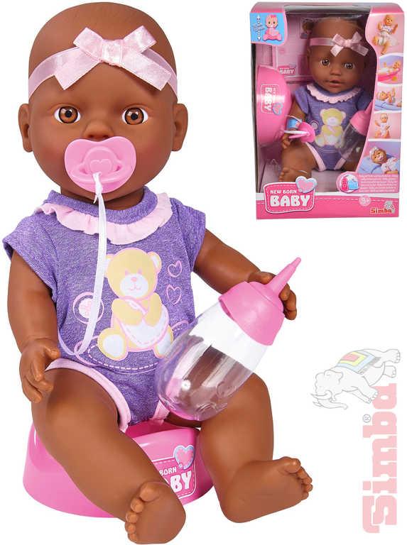 SIMBA New Born Baby Panenka miminko 30cm černoušek pije čůrá set s doplňky