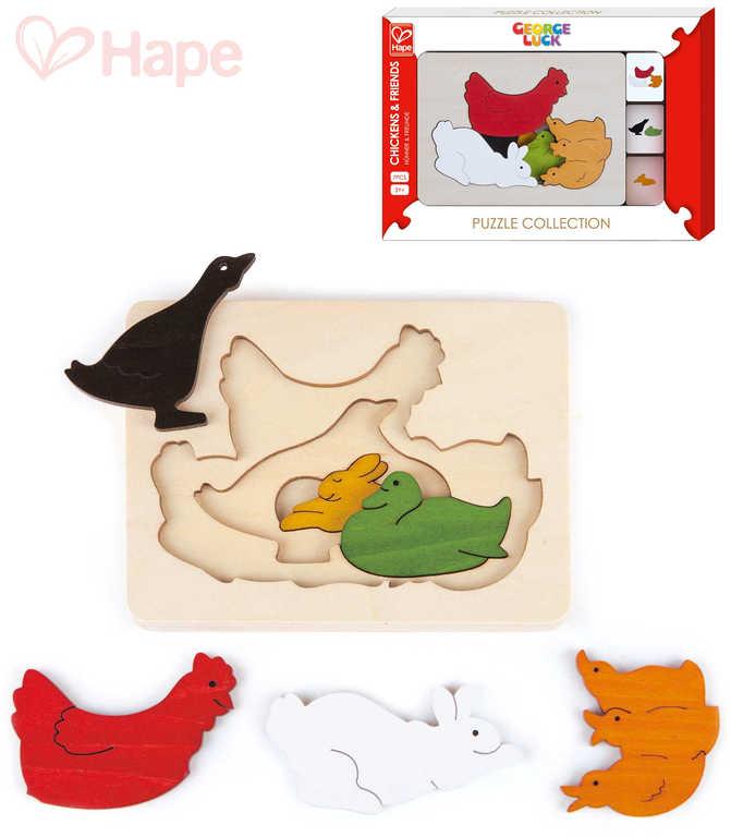 HAPE DŘEVO Puzzle 3 vrstvy na desce zvířátka 6 dílků *DŘEVĚNÉ HRAČKY*