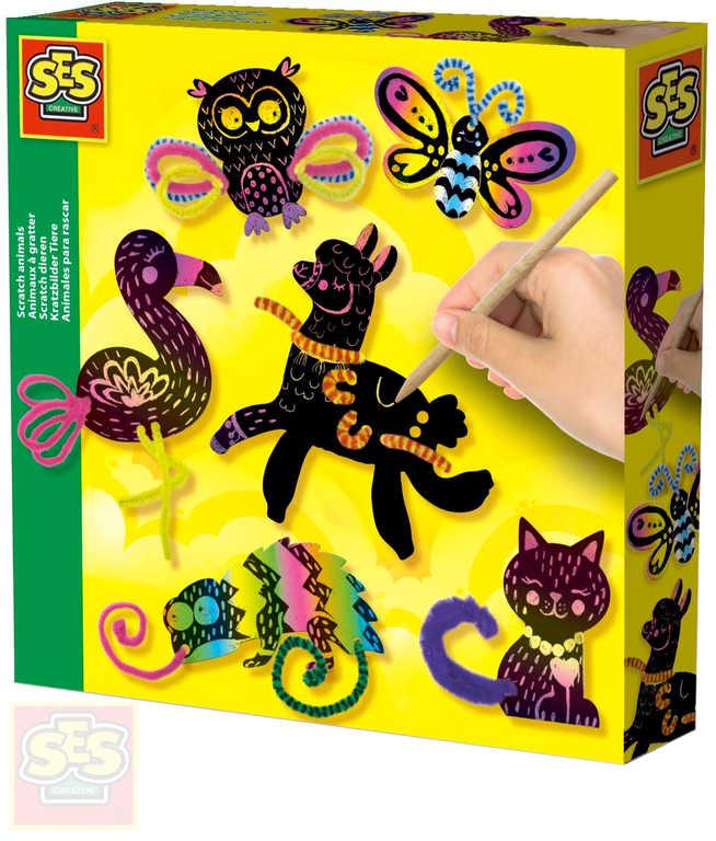 SES CREATIVE Obrázky škrabací zvířátka 6ks kreativní set s doplňky v krabici