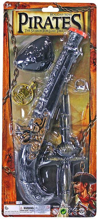 Malý pirát set puška bambitka s dýkou a doplňky na kartě plast