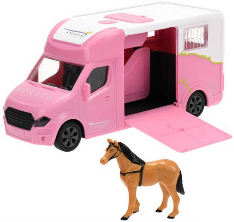 Auto přepravní kovové 20cm set s koněm na baterie Světlo Zvuk