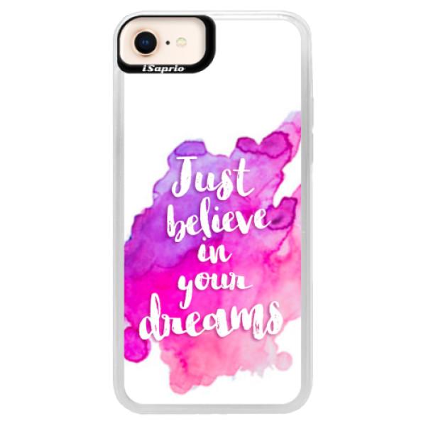 Neonové pouzdro Blue iSaprio - Believe - iPhone 8
