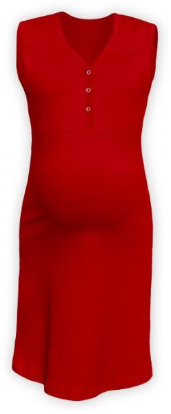 JOŽÁNEK Těhotenská, kojící noční košile PAVLA bez rukávu - červená - L/XL