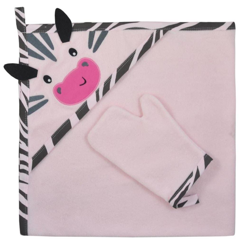 Dětská osuška s žínkou Koala Happy Zebra - pink - růžová