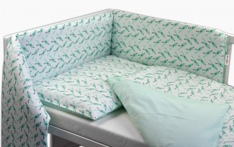 Oboustranný mantinel s povlečením Baby Nellys ® - zelení ptáčci/proužky - 135x100