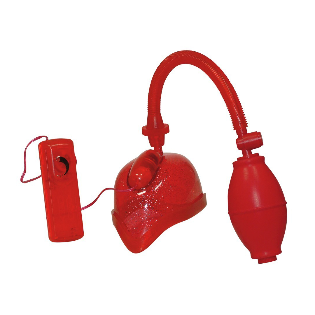 Červená vaginální pumpa - Vibrating Vagina Sucker
