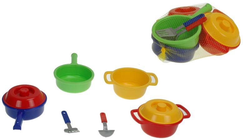 Dětská sada nádobí set kuchyňský plastový 6ks v síťce