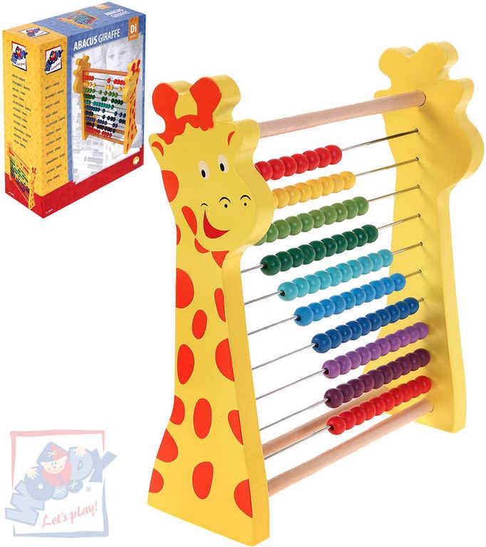 WOODY DŘEVO Počítadlo žirafa rainbow duhové