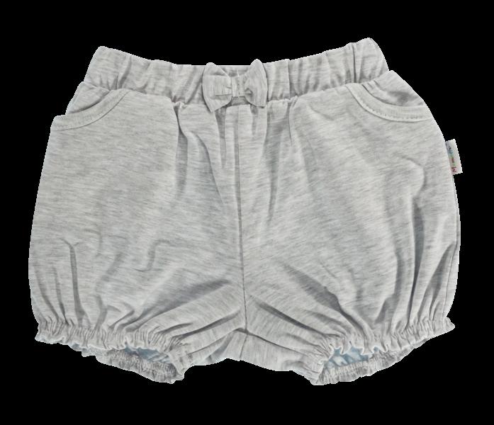 Dětské bavlněné kalhotky, kraťásky s mašlí Mamatti Bubble Boo - šedé, vel.