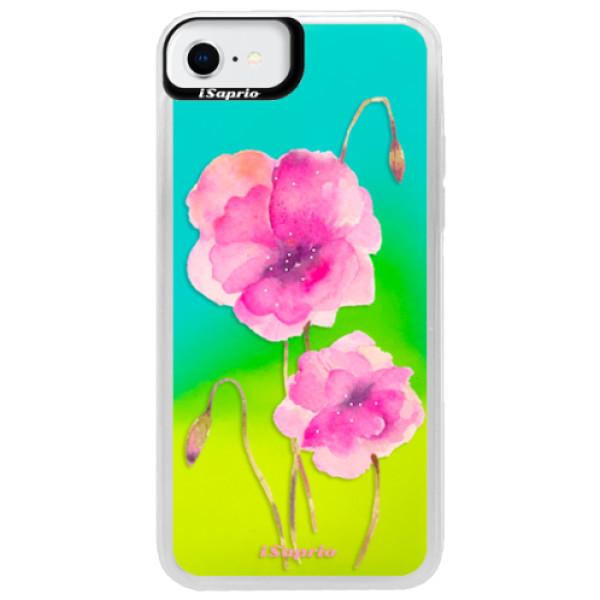 Neonové pouzdro Blue iSaprio - Poppies 02 - iPhone SE 2020