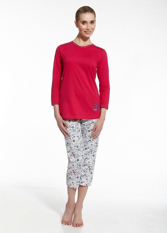 Dámské pyžamo Sara 646/49 - Cornette - Růžovo/bílá/S