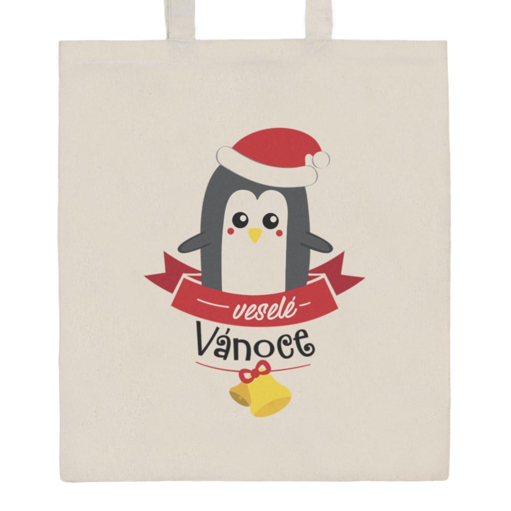Bavlněná nákupní taška s potiskem New Baby veselé Vánoce - přírodní