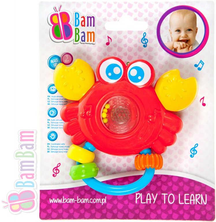 ET BAM BAM Chrastítko plastové KRAB s melodií pro miminko Zvuk