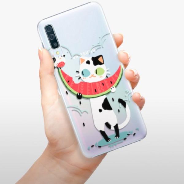 Plastové pouzdro iSaprio - Cat with melon - Samsung Galaxy A50