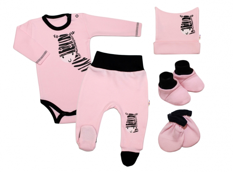 baby-nellys-5-ti-dilna-soupravicka-do-porodnice-zebra-ruzova-vel-62-62-2-3m