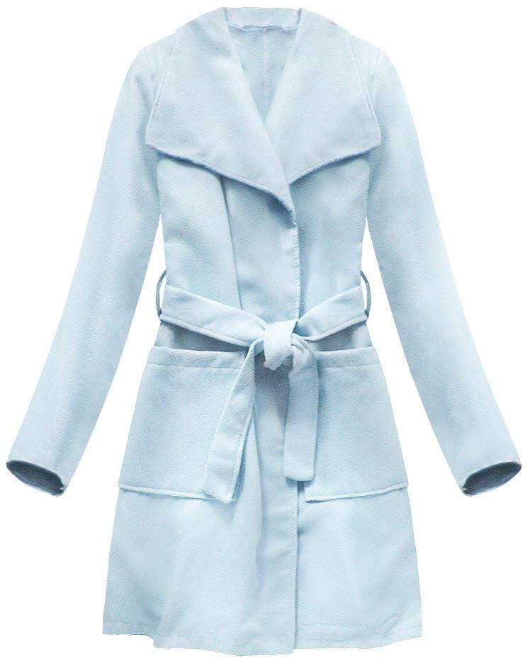 Světle modrý kabát s páskem pro zavazování (177ART) - Modrá/ONE SIZE