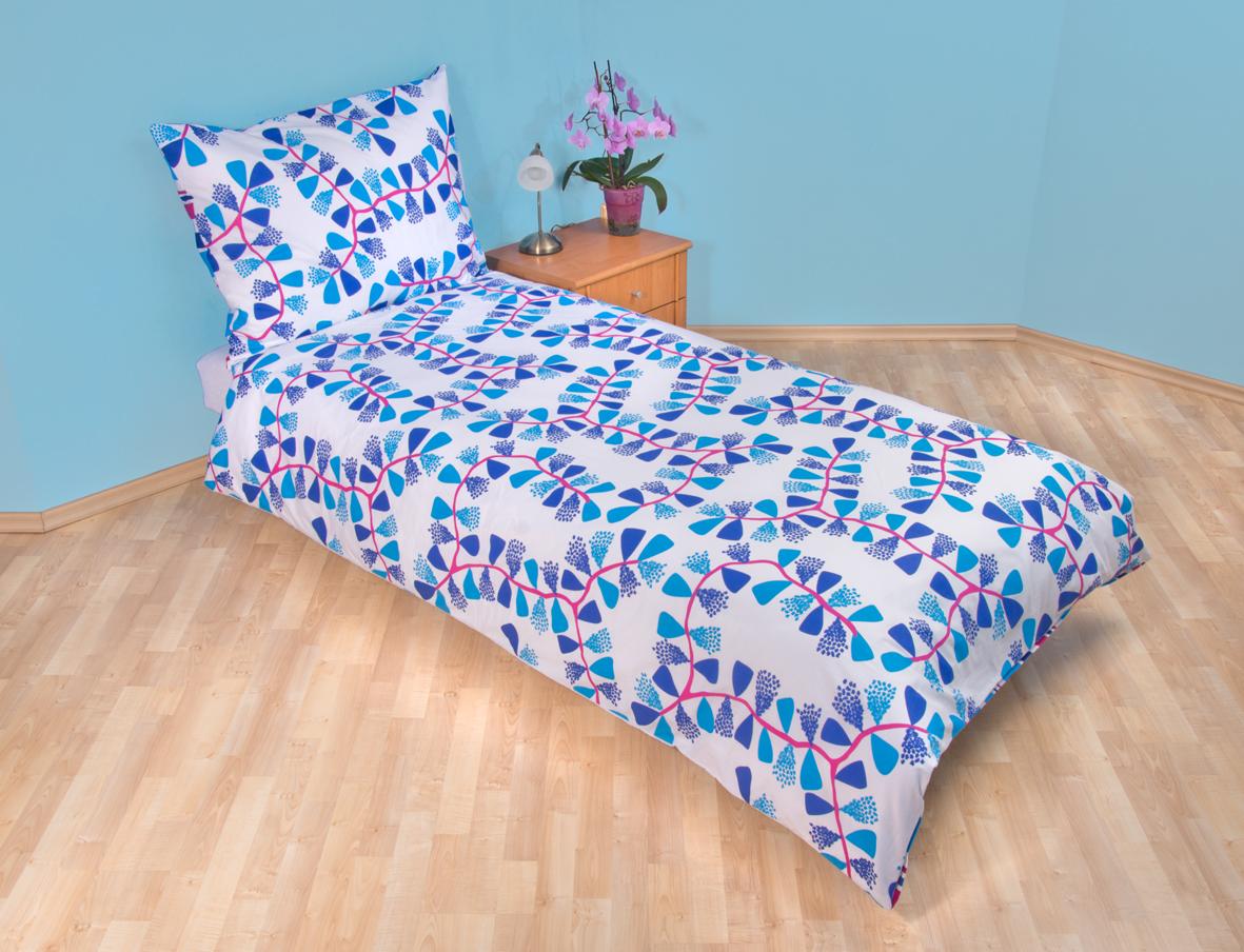 Povlečení bavlna 140x200, 70x90cm Mašle modré, Výběr zapínání: zipový uzávěr