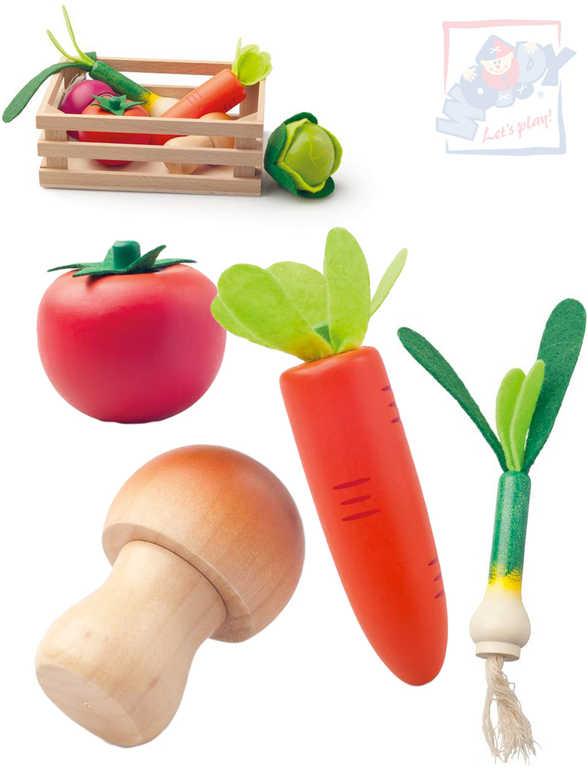 WOODY DŘEVO Baby set přepravka se zeleninou makety potravin 6ks