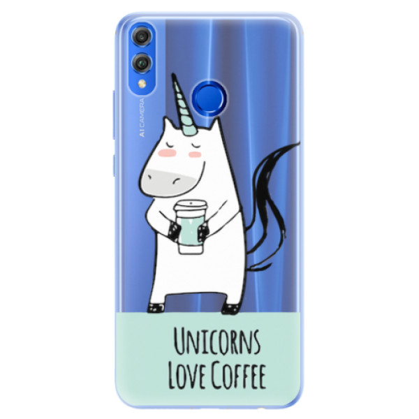 Silikonové pouzdro iSaprio - Unicorns Love Coffee - Huawei Honor 8X
