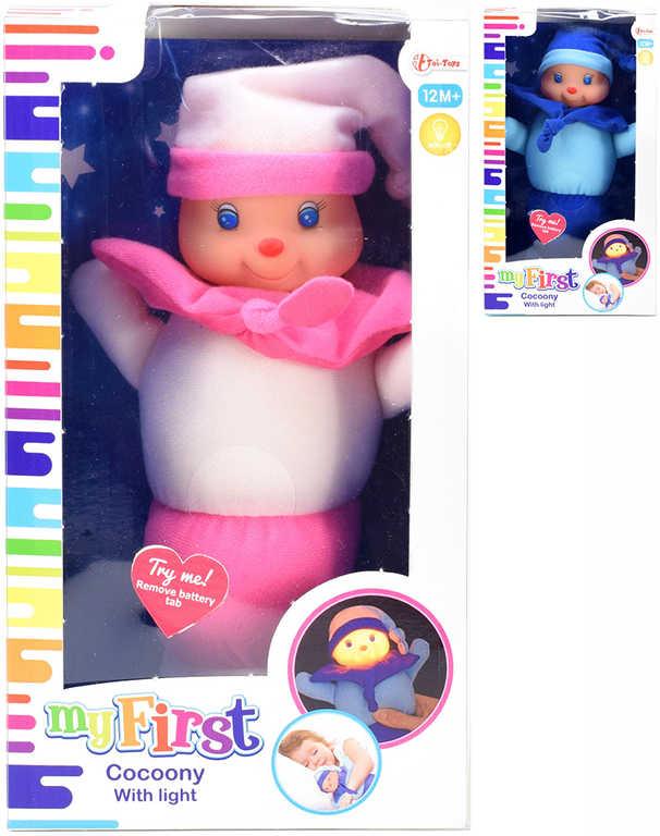 PLYŠ Baby housenka svítící usínáček na baterie 2 barvy Světlo PLYŠOVÉ HRAČKY