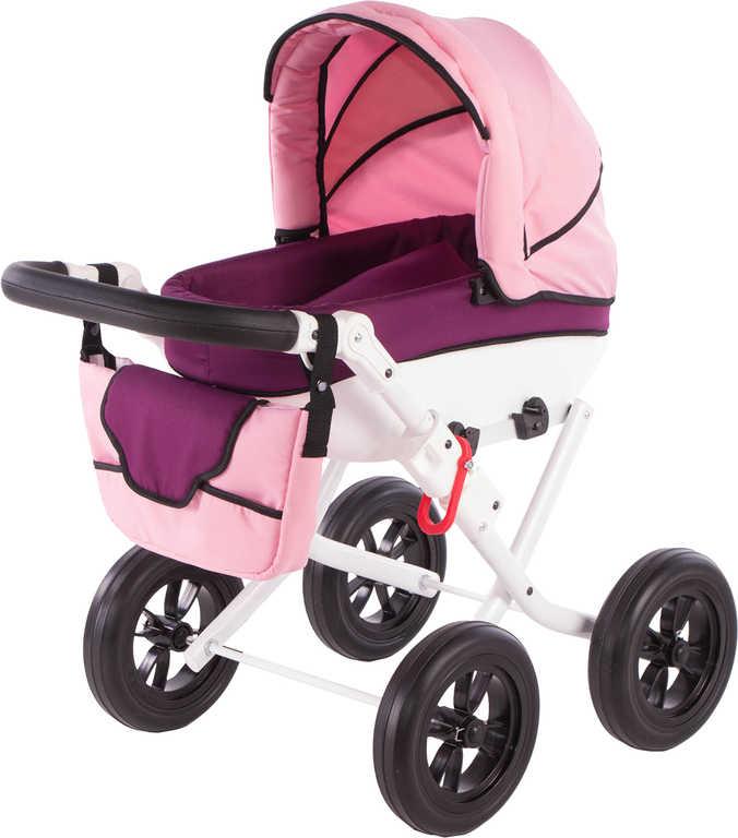 Kočárek VOGUE PURPLE růžovo-fialový pro panenku miminko