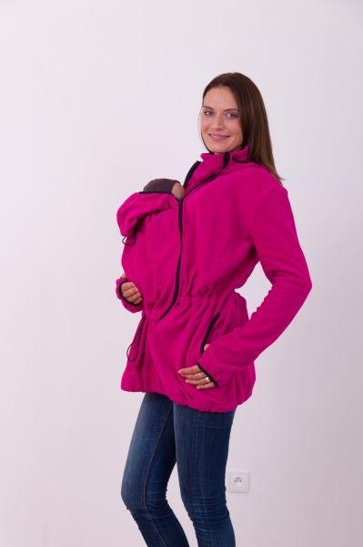 Nosící fleece mikina s kapucí - pouze přední nošení - tm.