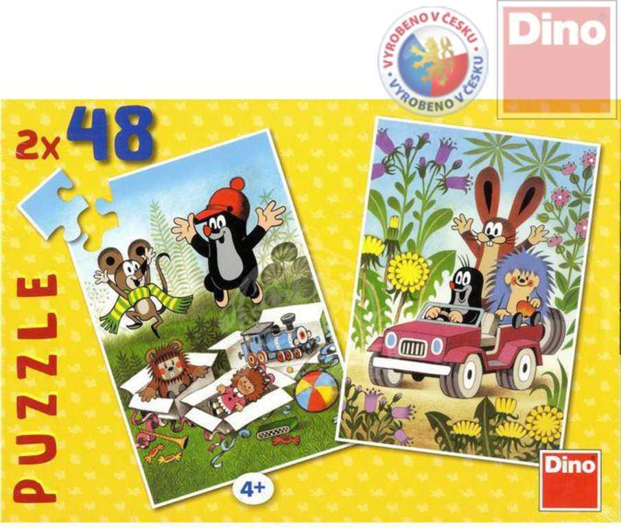 DINO Puzzle 2x48 dílků KRTEK se raduje skládačka Krteček
