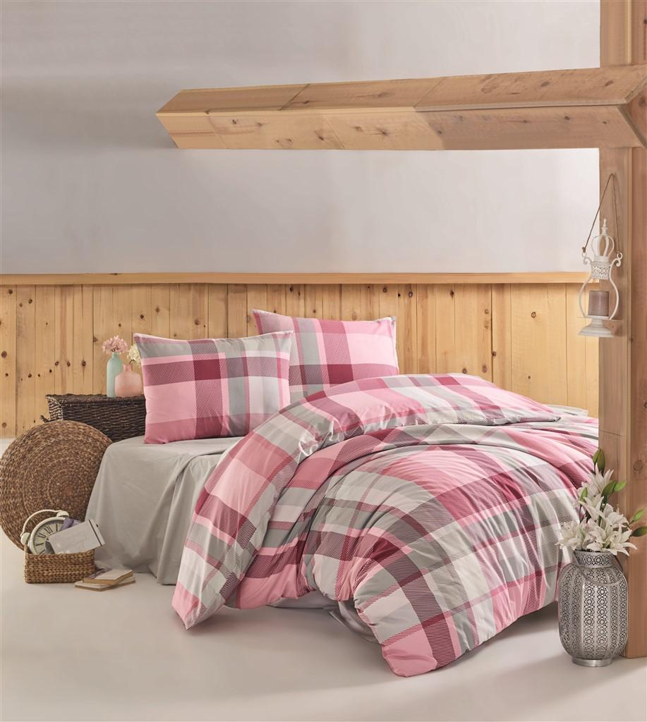 Povlečení francouzské bavlna 220x220,70x90 Carla pink, Výběr zapínání: