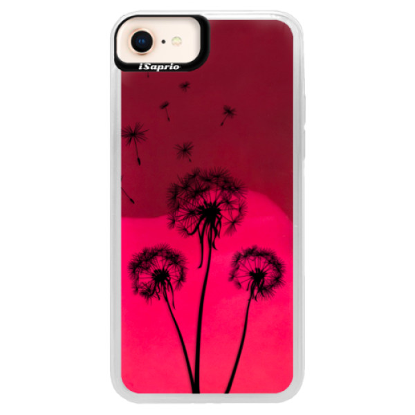 Neonové pouzdro Pink iSaprio - Three Dandelions - black - iPhone 8