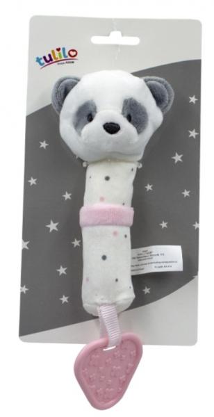 Tulilo Plyšová hračka s pískátkem a kousátkem Medvídek Panda, 16 cm - růžový