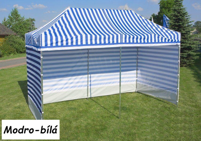 Zahradní  párty přístřešek PROFI STEEL 3 x 3 - modro-bílá pruhovaná