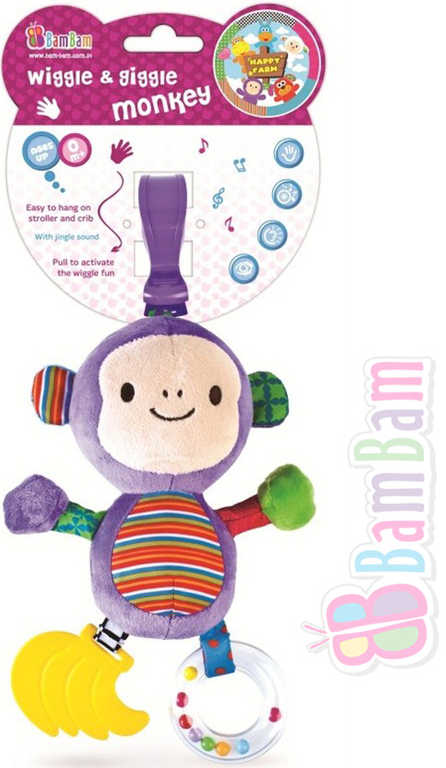 ET BAM BAM PLYŠ Opička 21cm smějící se přítel chrastítko na natažení Zvuk