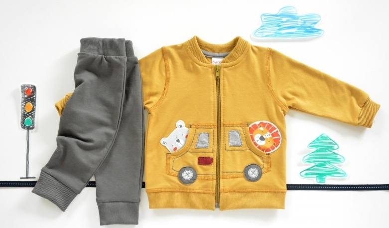 K-Baby Sada triko/mikinka + tepláčky Autíčko - hořčicová/tm.
