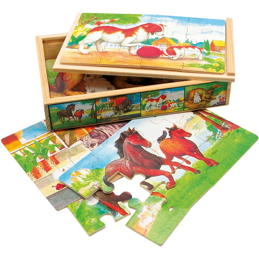 Dřevěné puzzle zvířátka - v krabičce