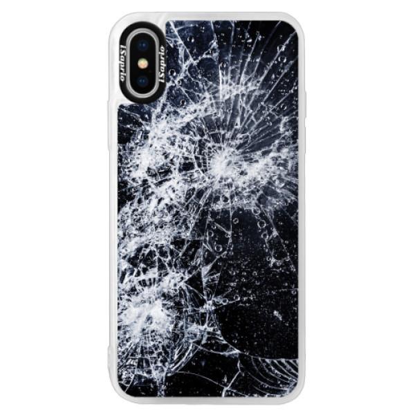 Neonové pouzdro Pink iSaprio - Cracked - iPhone XS