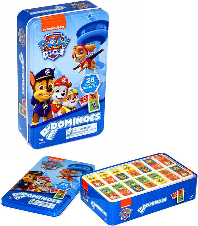 Hra Domino Tlapková Patrola 28 kamenů v plechové krabičce plast