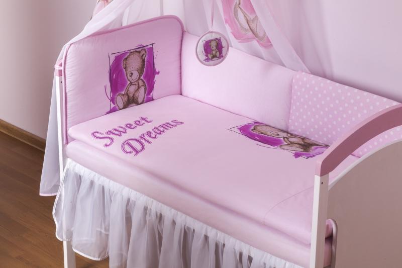 BABY NELLYS Šifónový volánek Sweet Dreams by Teddy - bílý - 120x60